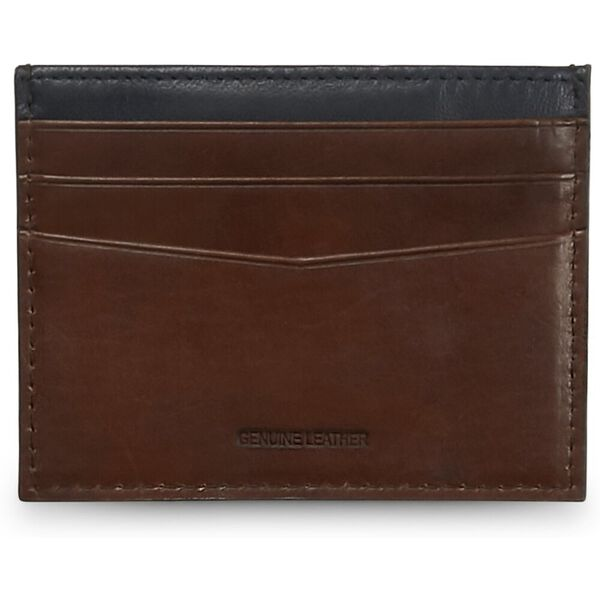 Leather Cc Wallet Tan/Navy