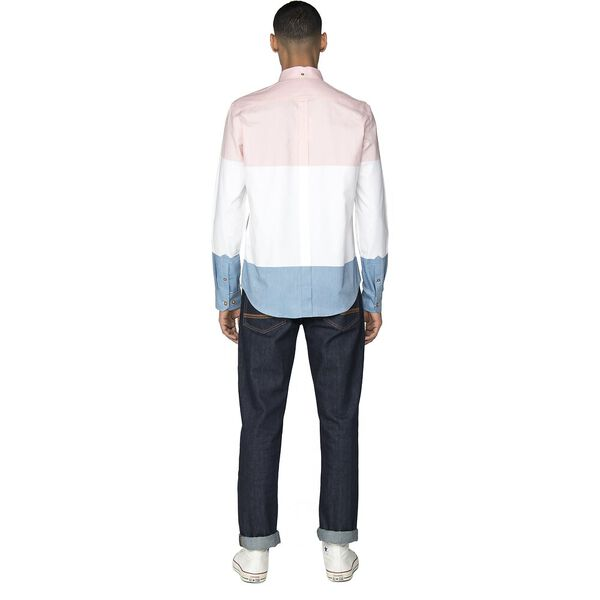 COLOUR BLOCK OXFORD SHIRT, LIGHT PINK, hi-res