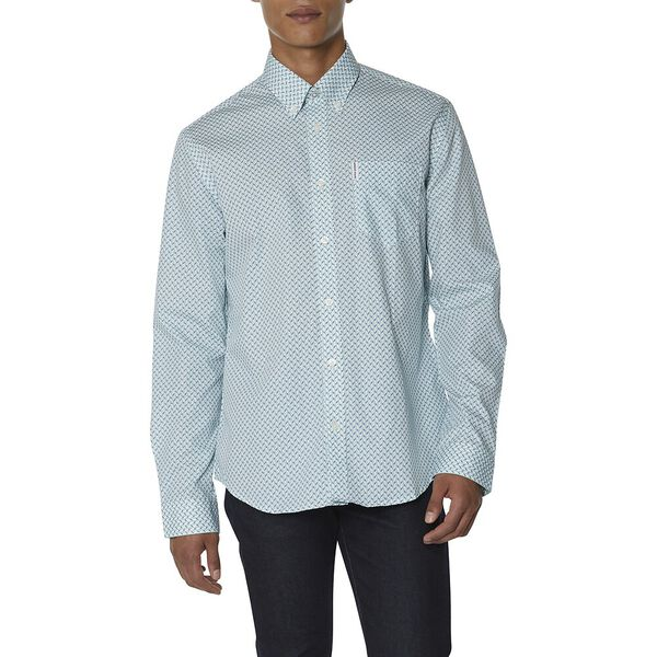 DUO TONE GEO SHIRT, SEA, hi-res