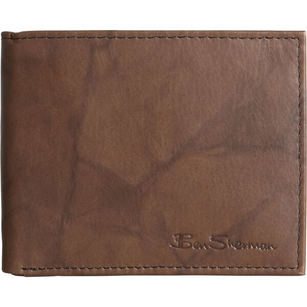 MARBLE CRUNCH LEATHER WALLET BROWN