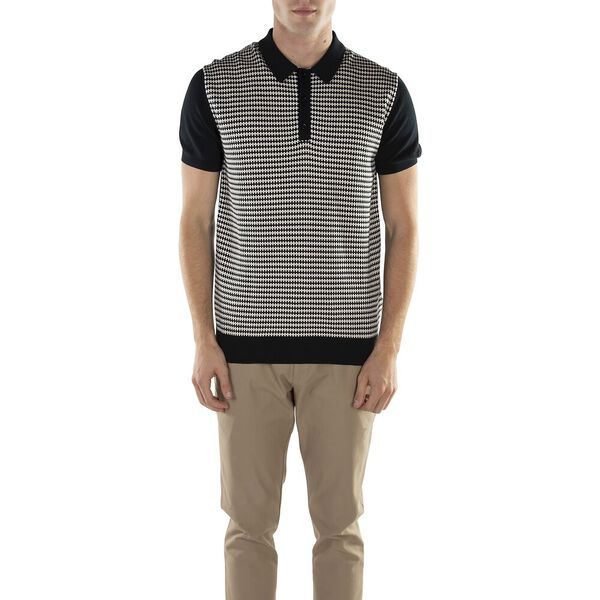 KNITTED GEO POLO BLACK, BLACK, hi-res