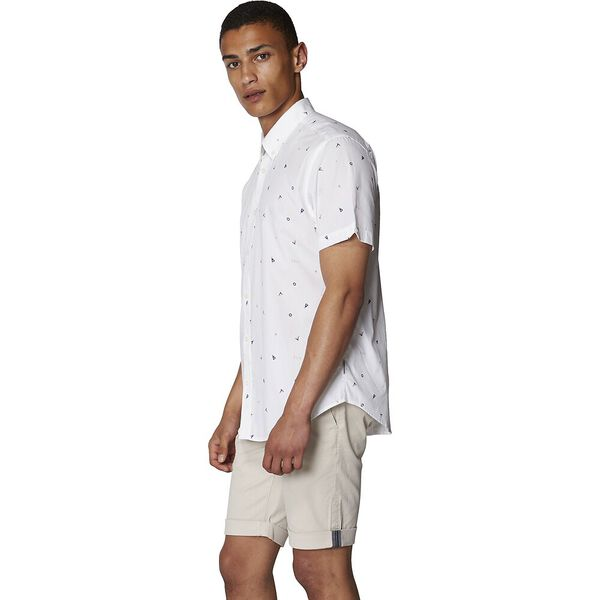 Nautical Print Shirt, WHITE, hi-res