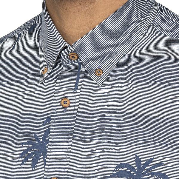 Striped Palm Print Shirt, DARK BLUE, hi-res