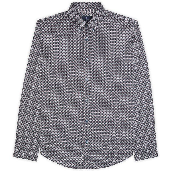 2 Col Print Shirt, DARK NAVY, hi-res