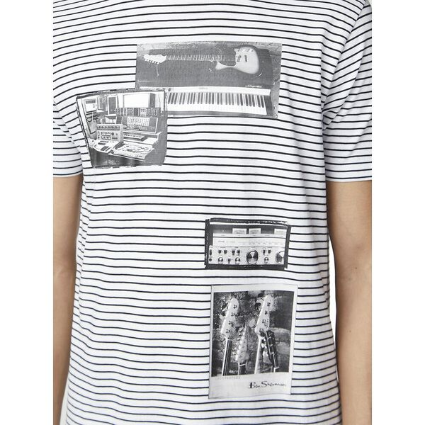 STUDIO MUSIC ON STRIPE TEE, WHITE, hi-res