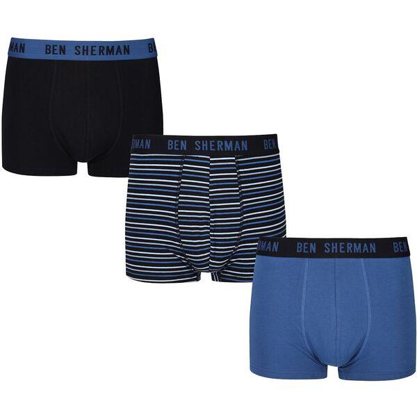 CHESTER 3PK TRUNKS BLACK/BLUE/STRIPE