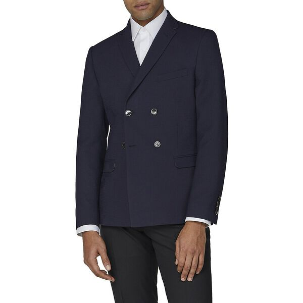NAVY TEXTURE COTTON JACKET
