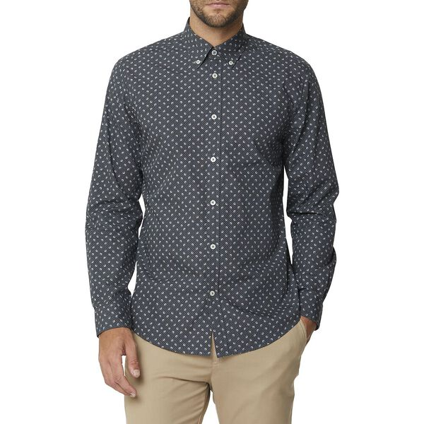 Multi Dot Print Ls Mod Shirt Charcoal