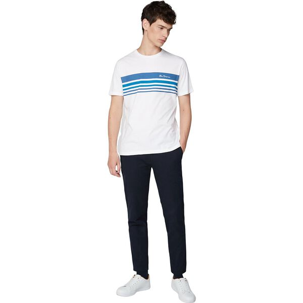 Retro Printed Chest Stripe T-Shirt, WHITE, hi-res