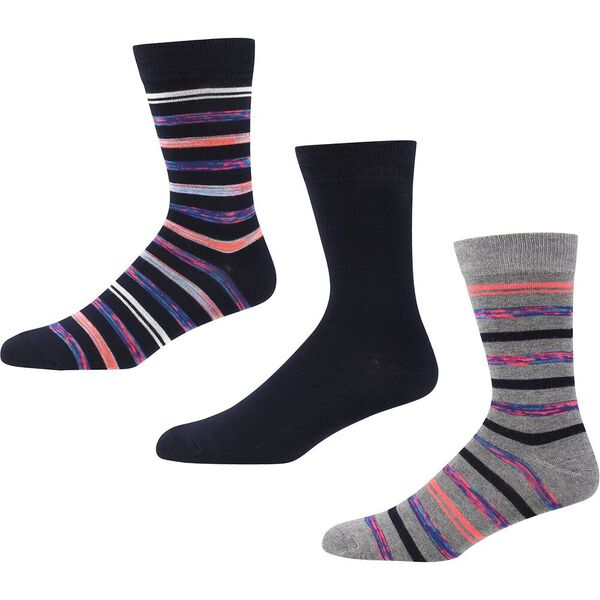 KNELLER 3PK SOCKS GREY MARL/NAVY