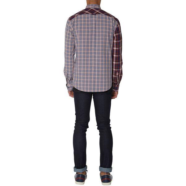 Mixed Check Shirt, LIGHT PINK, hi-res