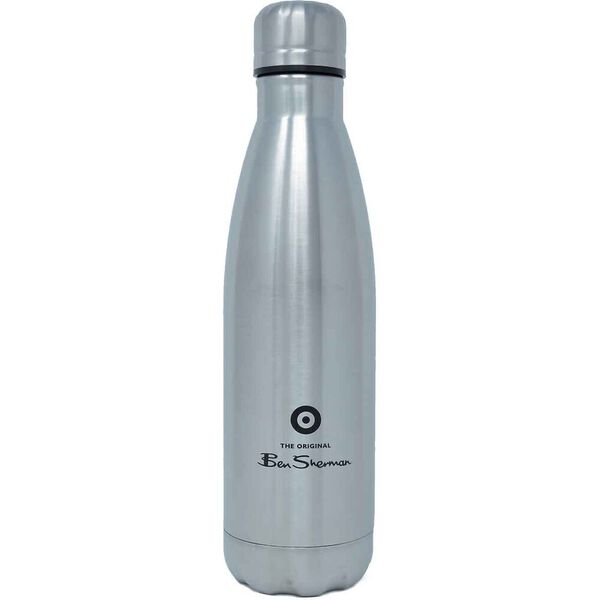 Metal Drink Bottle Silver/Black, NAVY, hi-res