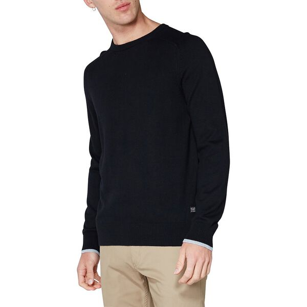Crew Neck With Cuff Tipping Knit, BLACK, hi-res