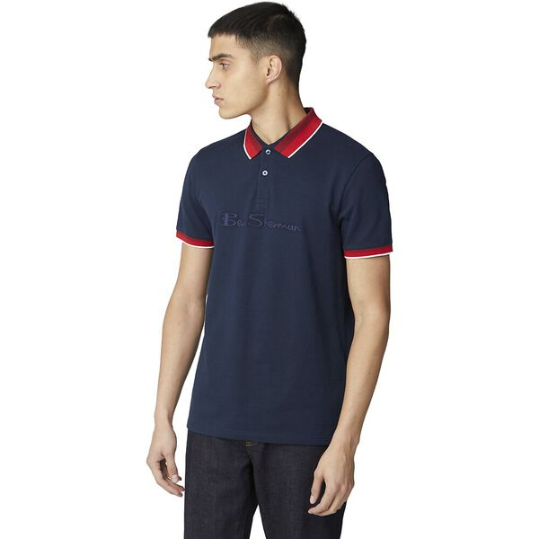 EMBROIDERED LOGO JERSEY POLO, DARK NAVY, hi-res