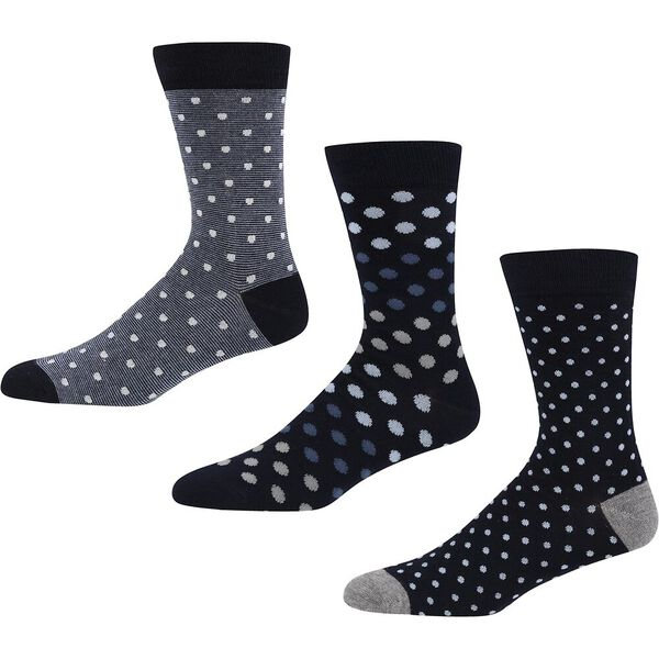 QUEENS LOGIC 3PK SOCKS NAVY/BLUE SPOTS