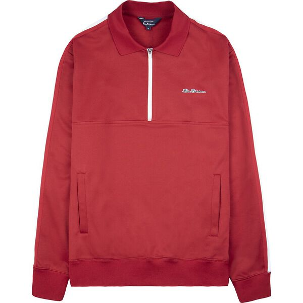 MOD TAPE 1/4 ZIP TRICOT, RED, hi-res