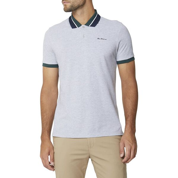 New Script Contrast Collar Polo Aluminiu