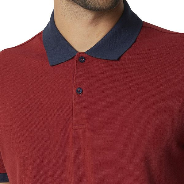 Semi Contrast Polo Ruby, RUBY, hi-res