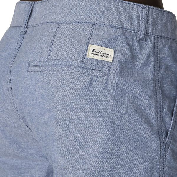 CHAMBRAY TEXTURE RELAXED SHORT, BLUE, hi-res