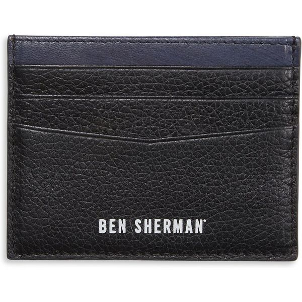 LEATHER CC WALLET BLACK/NAVY