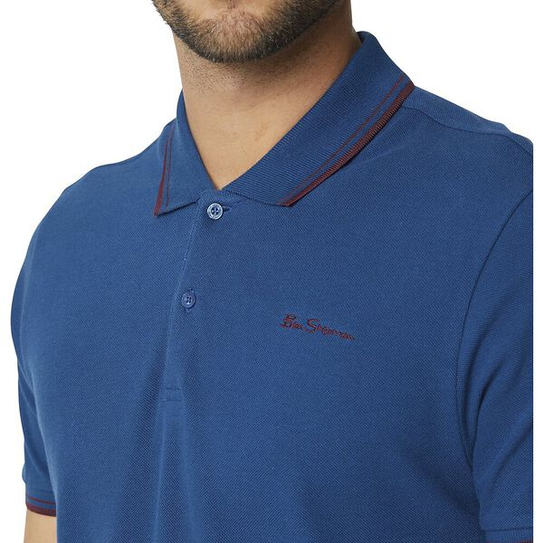 Basic Script Polo With Tipping Lake Blue, LAKE BLUE, hi-res