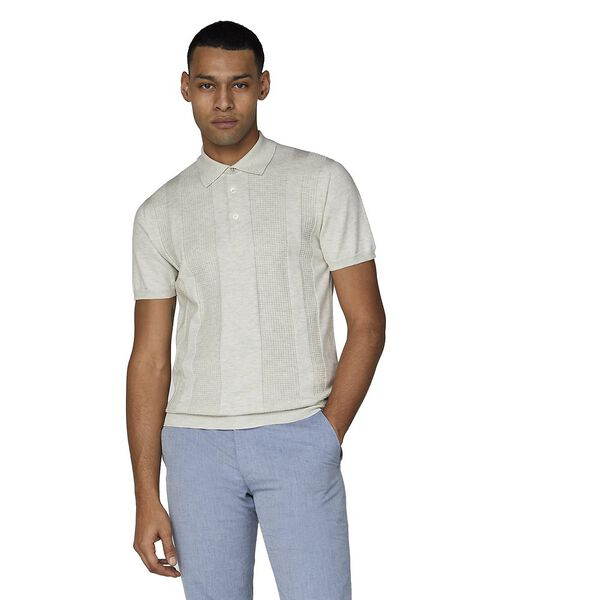 TEXTURED STRIPE FRONT POLO KNIT, ECRU, hi-res
