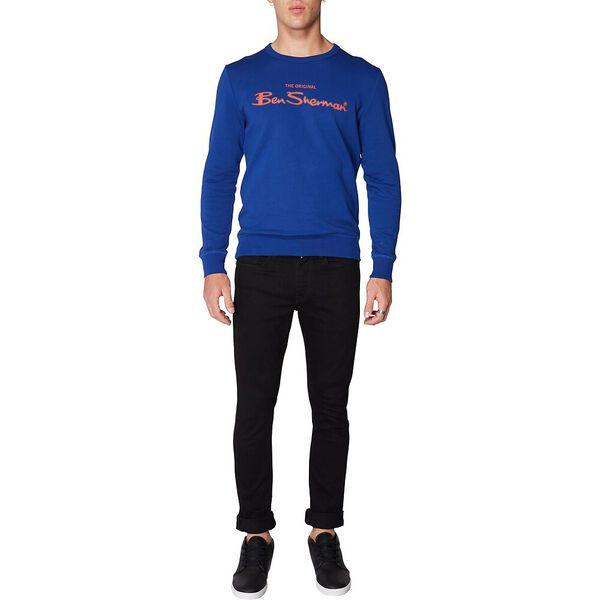 LOGO COLOUR BLOCK SWEAT ROYAL BLUE, ROYAL BLUE, hi-res