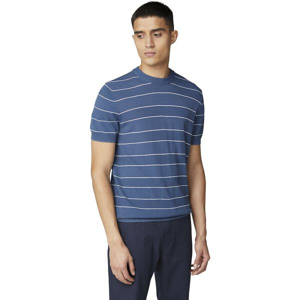 CREW NECK STRIPE KNIT TEE