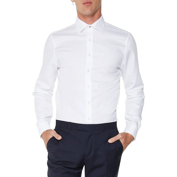 LS KINGS BASKET WEAVE SHIRT, BRIGHT WHITE, hi-res
