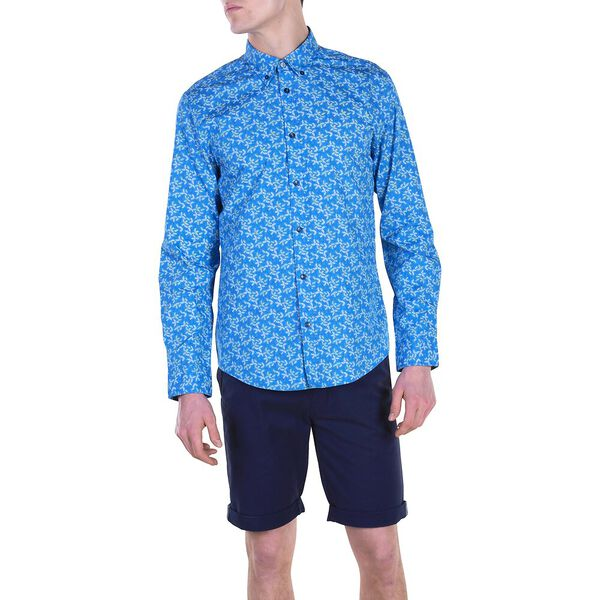 LS SCATTER LEAF MOD SHIRT, PARISIAN BLUE, hi-res