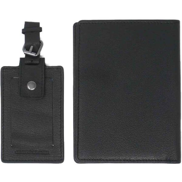 Travis Leather Passport & Luggage Tag Set, BLACK, hi-res