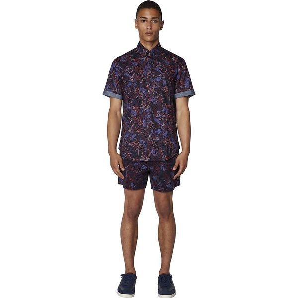 TROPICAL FLORAL SHIRT, DARK NAVY, hi-res