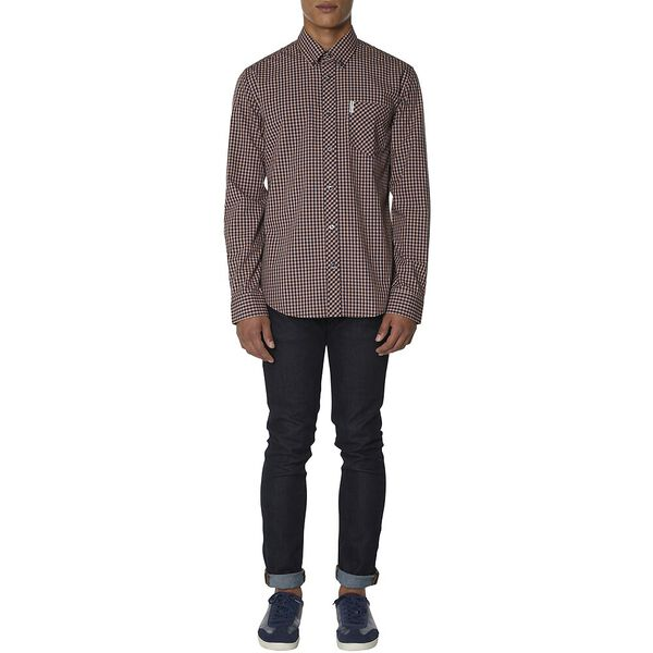 Ls Eoe Gingham Shirt, ORANGE, hi-res