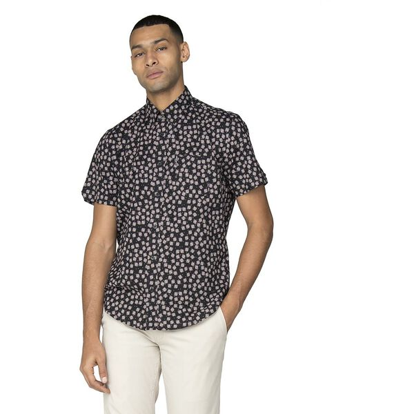 SCATTERED SCRATCH GEO SHIRT, BLACK, hi-res