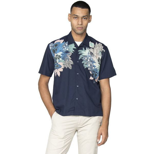SS VISCOSE FOLIAGE PRINT SHIRT, DARK BLUE, hi-res