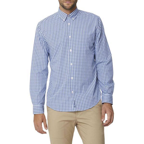 Micro Check Mod Ls Shirt Blue, BLUE, hi-res