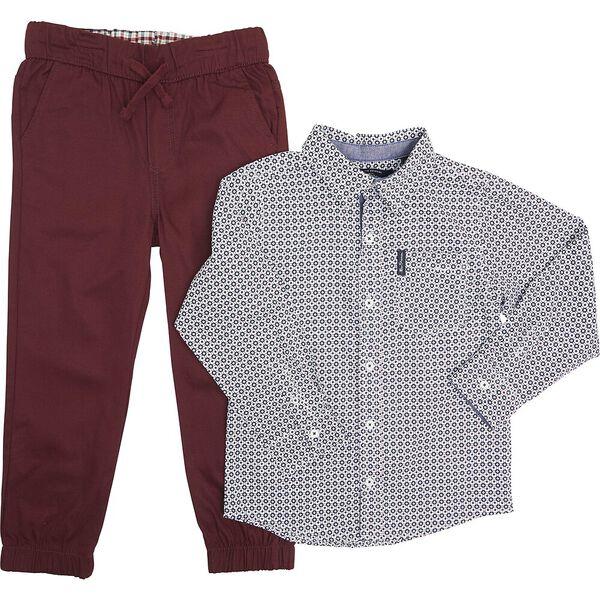 Ls Shirt And Trouser Pack White/Burgundy