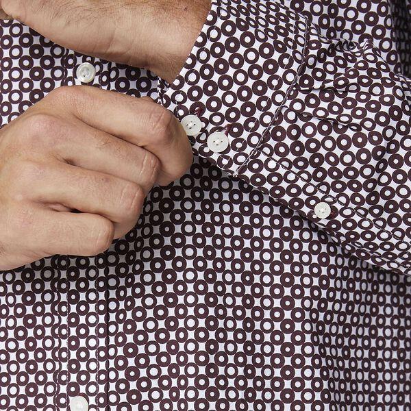 Ls Optic Spot Print Shirt Wine, WINE, hi-res