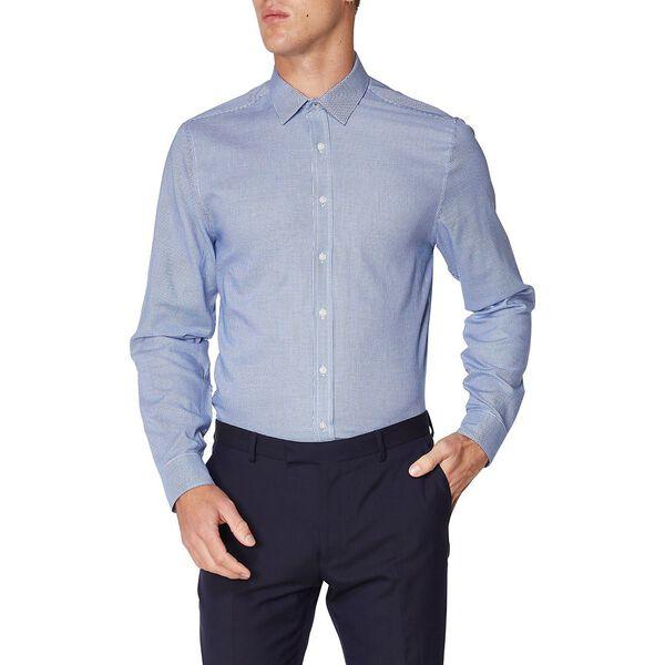 Formal Houndstooth Dobby Camden Shirt, NAVY, hi-res