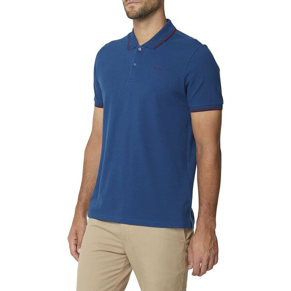 Basic Script Polo With Tipping Lake Blue