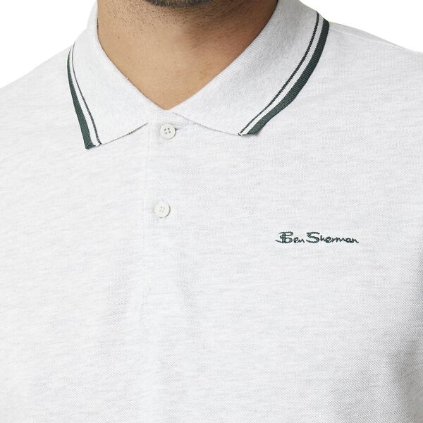 Basic Script Polo With Tipping Light Ash, LIGHT ASH, hi-res