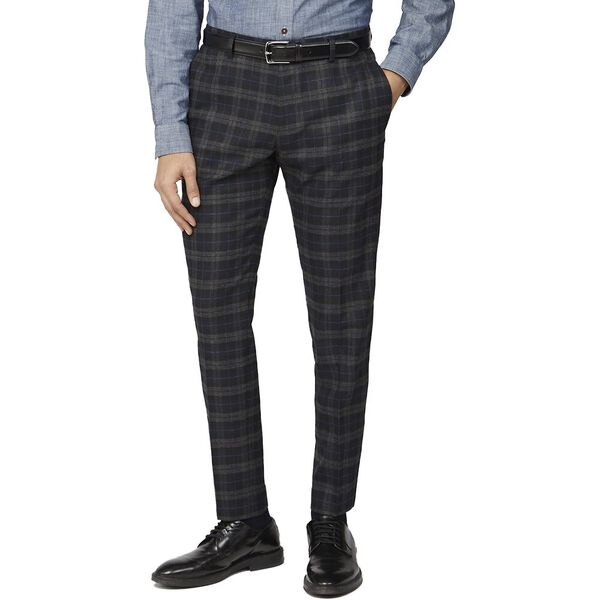 BLACK BLUE BRUSHED CHECK SLIM TROUSER