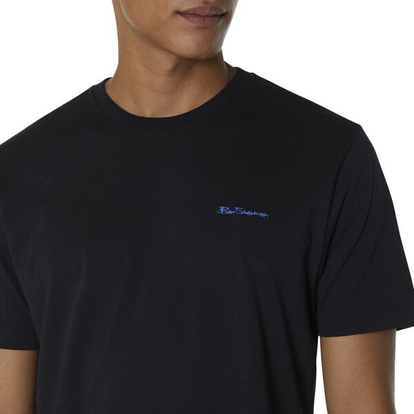 Chest Embroidery T-Shirt, BLACK, hi-res