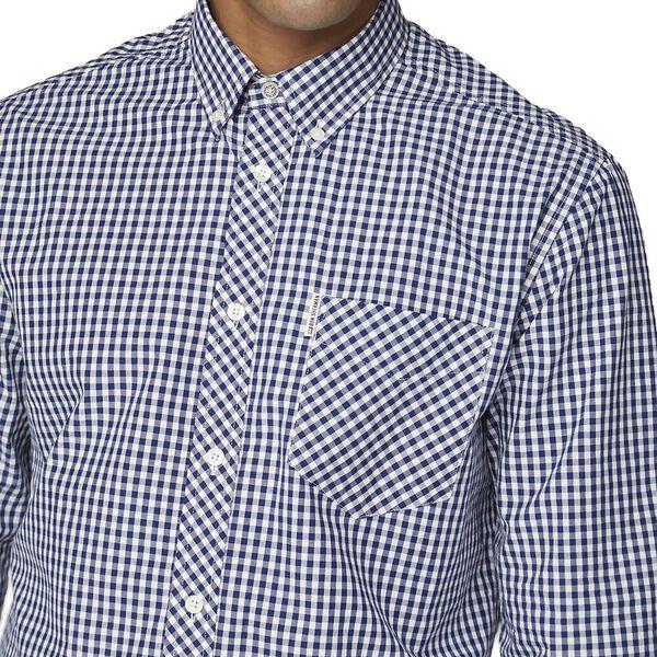 Gingham Shirt, DARK BLUE, hi-res