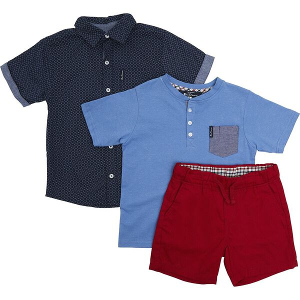 Kids 3 Piece Set With Tee, RED/NAVY/BLUE, hi-res