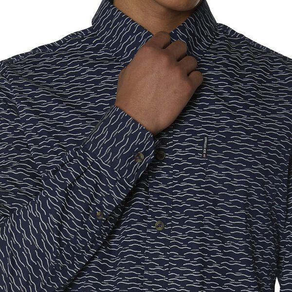 Ls Wave Texture Print Shirt, INDIGO, hi-res