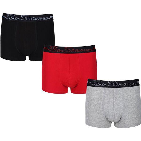 Clay 3Pk Trunks Black/Grey Marl/Red