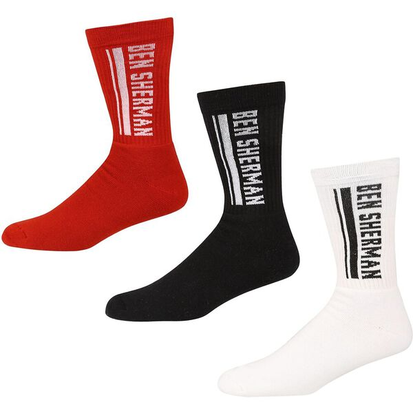 MACRON 3PK SPORTS SOCKSCK/WHITE/RED