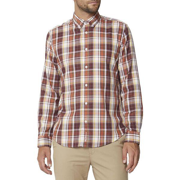 Multi Check Mod Ls Shirt Brown