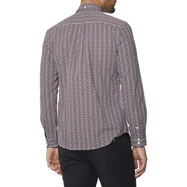 Ls Optic Spot Print Shirt Wine, WINE, hi-res